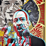 Martin Luther King, acrylique (80x 65cm)- Bobo Artist,