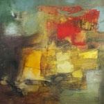 """""""Mes rêves en rouge""""- Brigitte Rochas, acrylique sur toile """"  (100x 100cm)"""