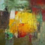 """""""Château fort""""- Brigitte Rochas, acrylique sur toile """"  (100x 100cm)"""