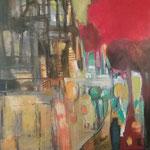 """""""La ruelle """"- Brigitte Rochas, acrylique sur toile """"  (100x 100cm)"""
