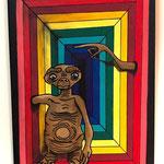 """""""E.T"""",  technique mixte sur papier (30x21cm)- Bobo Artist"""