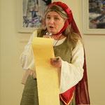 L'historienne fait lecture de la Charte accordant le Marché à St Ambroix