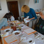 Essais du mélange argile-fer aux tampons et au pinceau