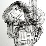 Máscara Del Sufrimiento  /mixta sobre papel 42x31 cms