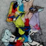 Retrato De Personaje Polimórfico 06  /mixta sobre cartón 42,5x30 cms