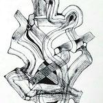 Máscara De La Negación / Tinta sobre papel 45x32,5 cms