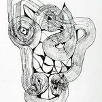 Máscara De La Impaciencia /mixta sobre papel 45x32,5 cms