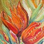 Tulpen auf Goldgrund, Öl auf Leinwand, 50 x 60 cm