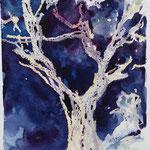 Oliven, Ölpastell, Aquarell, ca.  15 x 25 cm