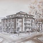 Grünheide, Rathaus, Rohrfeder, laviert, 40 x30n xm