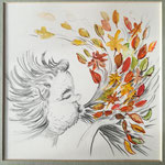 Windiger Gesell, Mischtechnik, 20 x 20 cm