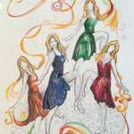 Djamila tanzt, Stifte, Aquarell, 50 x 70 cm