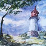 Leuchtturm auf Hiddensee, Aquarell,34 x 24 cm