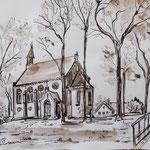 Kirche in Grünheide, Rohrfeder, laviert, 30 x 20 cm