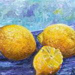 Zitronen, Öl, 34 x 24 cm