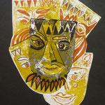Maske, Mischtechnik, 30 x 40 cm