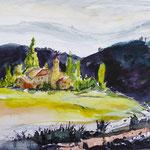 Blick auf Val de Rose, Umbrien, Aquarell, ca. 25 x 18 cm
