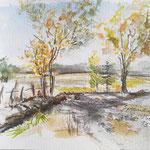 Herbst in Hirsegarten, Skizze in Aquarell, Feder, 30 x 20 cm