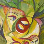 Masken, Acryl , 50 x 70 cm