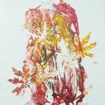 Herbstversteck, Gelantinedruck, Stifte, 20 x 30 cm