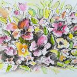 Blütenteppich, Aquarell, Feder, 15 x 10 cm