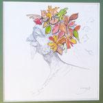 Der gute Herbstgeist, Mischtechnik, 20 x 20 cm