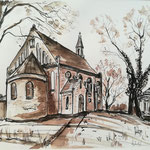 Kirche in Grünheide, Rohrfeder, laviert, 40 x 30  cm