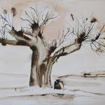 Weiden I, Aquarell, 34 x 45 cm