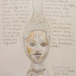 Königinmutter Yoba aus Benin, Studie, Stifte, 20 x 30 cm