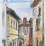 Castiglione del Lago, Umbrien, Aquarell, Feder, 18 x 40 cm