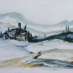 Val de Rose im Winter, Umbrien, Aquarell, ca. 25 x 18 cm