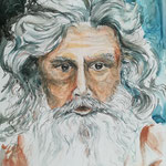 Moses, Aquarell, Stifte, 35 x 50 cm
