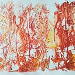 Herbstfeuer, Gelantinedruck, Stifte, 30 x 20 cm