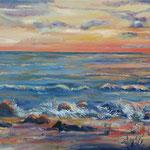 Abendstimmung am Meer, Öl, 100 x 50 cm