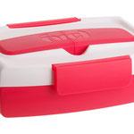 Marmita da Fuel, de plástico e silicone, tem estojo de talheres acoplado à tampa; na loja virtual Suxxar
