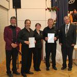 die vom Verband geehrten aktiven Musiker mit Achim Böhler und Alfred Ruf