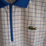 ポロ ジップアップとワニロゴ ストライプと衿と袖リブはロイヤルブルー