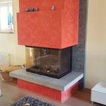 Cheminee Neugestaltung mit Stucco Veneciano in Bauernhaus Schwarzneburg
