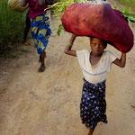 Die Kinder helfen ihren Grosseltern bei der schweren Arbeit.