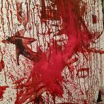 WE in red XXXI, 115 cm/ 75 cm, Öl und Pigment auf Leinwand