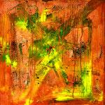 """""""Eearth View"""" 2019 Copyright Christina Mitterhuber, Öl, Pigmente und Perlen auf Leinwand, 80 cm× 80 cm, Verkauft in der Galerie Kunstraum am 10. Oktober 2019 an Dr. Alois H."""