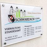 Acrylglasschild für Gemeinde Schwarzach a. Main Rathaus, Werbetechnik