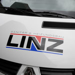 Fahrzeugbeklebung, Fahrzeugbeschriftung, Folienbeklebung, Folienbeschriftung, Fa. Heizungsbau Linz, Prichsenstadt Nutzfahrzeug, Autobeschriftung