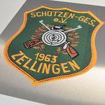 Schützen Zellingen, Edelstahlschild mit Logo für Ausschanktheke, Werbetechnik