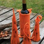Weinflaschendeko und Eierwärmer aus Filz
