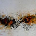 Ausbruch III - Acryl Mischtechnik mit Schellack und Pigmenten auf Malpappe 70 x 50 cm, 2015