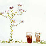 flowers and iced tea