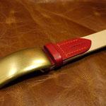 (オーダーメイド)ベルト真鍮バックル持込みヌメ革ナチュラル×オイルプルアップ赤三重県桑名郡K様Waioli14074