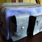オーダーメイド革と帆布のショルダーバッグ(紺色)岐阜県羽島市F様Waioli14088