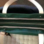 帆布トートバック(グリーン)愛知県稲沢市H様手作り革工房Waioli1308-1(2)